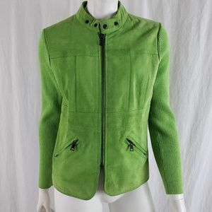 One Girl Who Faux Suede One Girl Jacket Zip Green